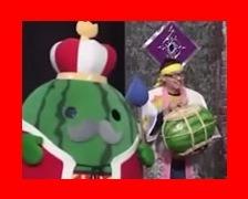 有吉反省会で富山県入善町のスイカをPRしに来た入善町PRマスコットキャラクターの「ジャンボール三世」と富山県入善町役場の「樋口恭兵」さん